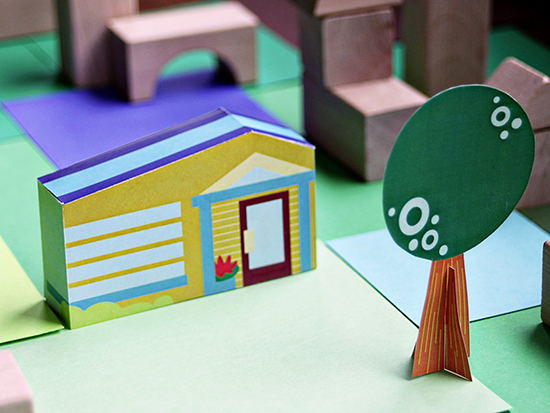 free downloadable printable paper toy house and neighborhood for kids