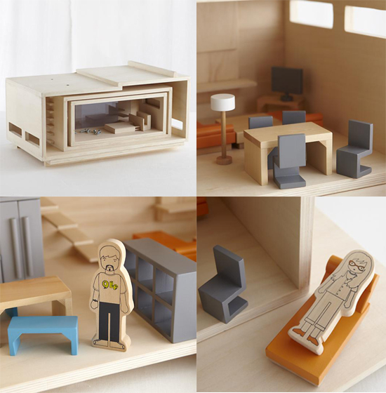 Land of nod exclusive dollhouse modern natural wood doll for Big modern dollhouse