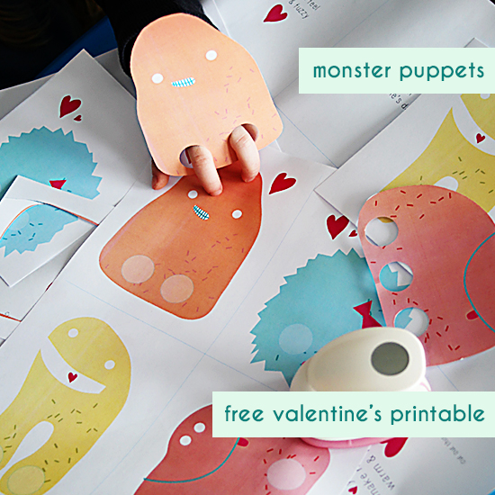 free printable download - paper monster finger puppets valentine's cards for kids