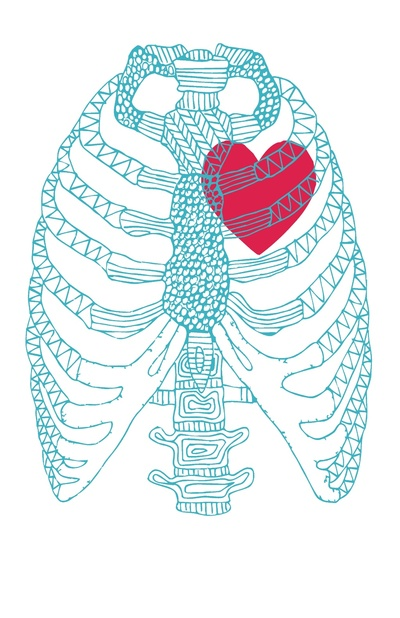 Skeleton Ribcage Heart Print by Austeja Saffron on Society6 - Happy Valentine's Day