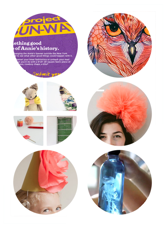 Annie's Foods Project Bunway Fashion Contest - Watercolor stickers - Inspirational Instagrams - DIY Tulle Hair Poof - DIY Flower Party Hat - DIY Jellyfish Pets for Kids.
