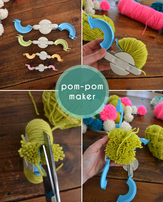 diy pom pom chandelier neon boho mod craft decor retro yarn pom mobile small for big. Black Bedroom Furniture Sets. Home Design Ideas