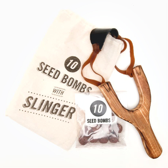 Sling shot seed bombs and pom poms for kids