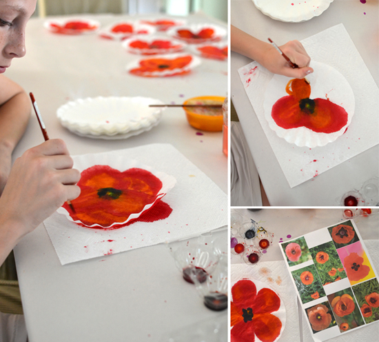 Diy painted poppy art kids summer flower crafts diy painting for kids and grownups both will love painting on coffee filters serisously it is mesmerizing the paint gets soaked up and its just so cool to watch the mightylinksfo