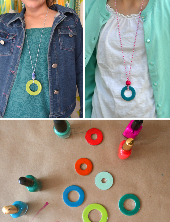 kids crafts-Washer Pendants