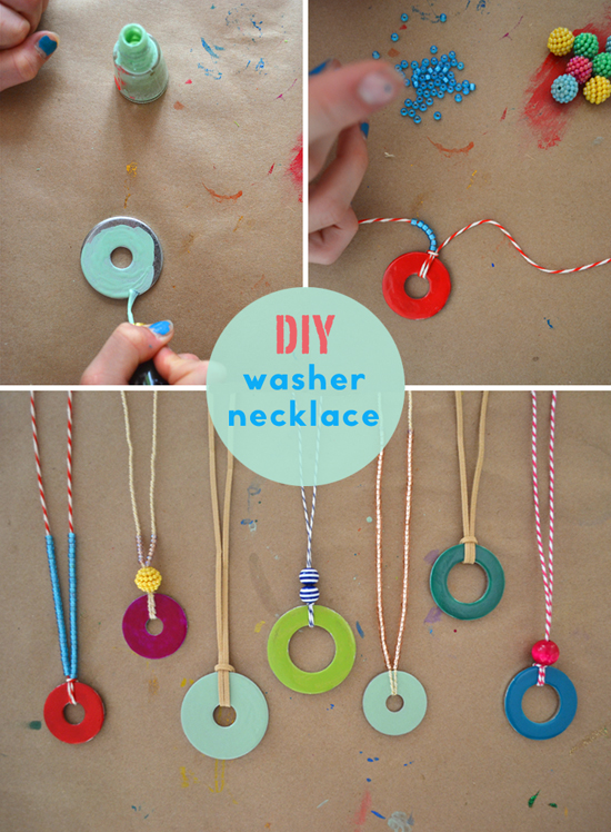 Diy washer necklaces kid s summer craft handmade for Arts and crafts for 10 year old girls