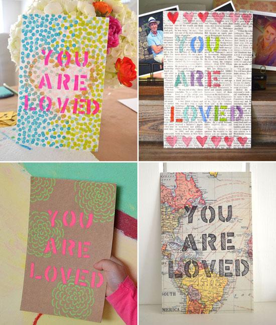 Stencil Art You Are Loved pour la fête des pères - bricolage pour enfants Cadeaux d'art