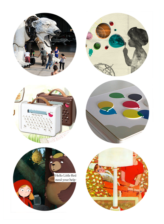 Top links online: Polar Bear Puppet, Kiec Collages, washi tape label maker, think touch learn board books, nosy crow apps, and mid-century art prints