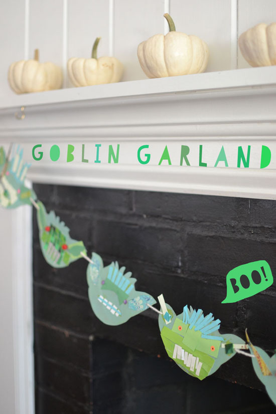 DIY goblin garland - collage with recycled materials - halloween craft for kids | @smallforbig.com
