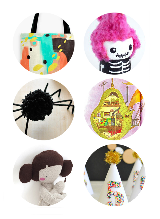 Top 5 links online this week: print your own totebag, halloween diy puppets, halloween diy spider, vintage children's book, maternity doll, top 50 craft blogs.