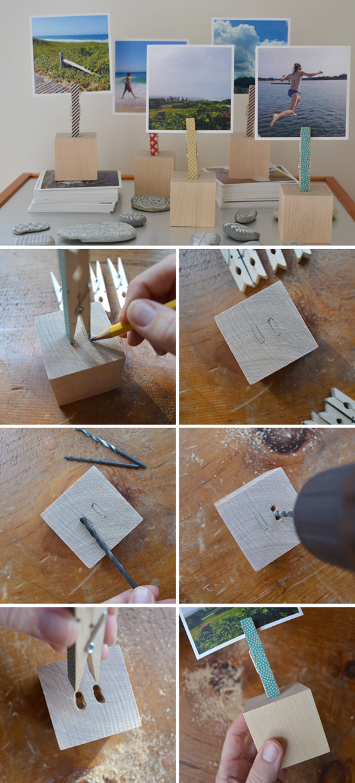 DIY wood block photo holders ~ easy handmade holiday gift | small for big