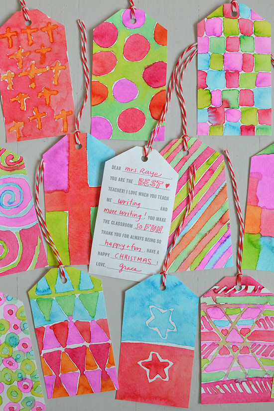 DIY painted teacher gift tags + printable | small for big
