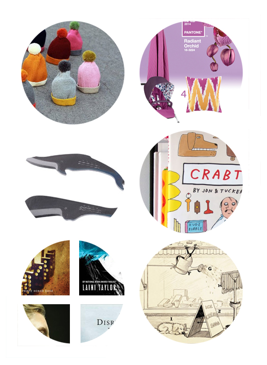 This week's top picks online include handmade winter hats, Pantone color of the year 2013, whale knives, mcsweeneys childrens books, ya fiction, and rube goldberg.