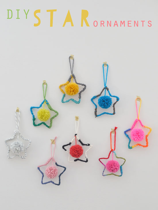 DIY Star Ornaments - Holiday Craft - Hand Made with Yarn and Pom-poms