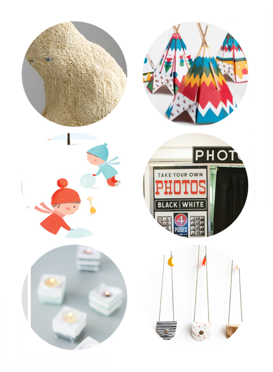 This week's top links include spaghetti sculpture, mini teepees, winter illustrations, vintage photobooth, weekend DIYs and leather lockets.