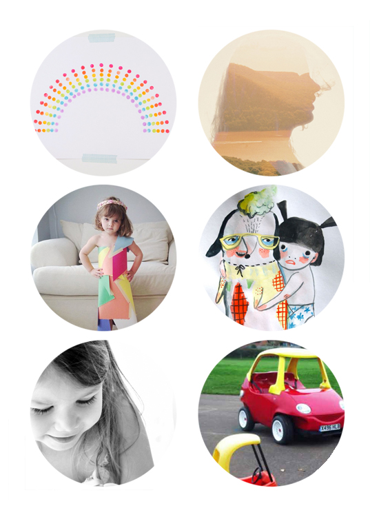 This week's best links online include st. patrick's rainbow diy, double exposure photos, diy paper dresses, watercolor doodles, kids perspective, cozy coupe.