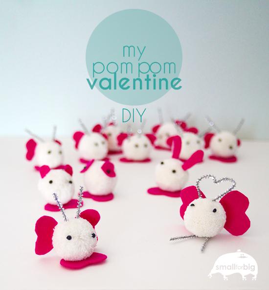 Pom Pom Valentine DIY - make these retro pom pom monsters with the kids this Valentine's Day.