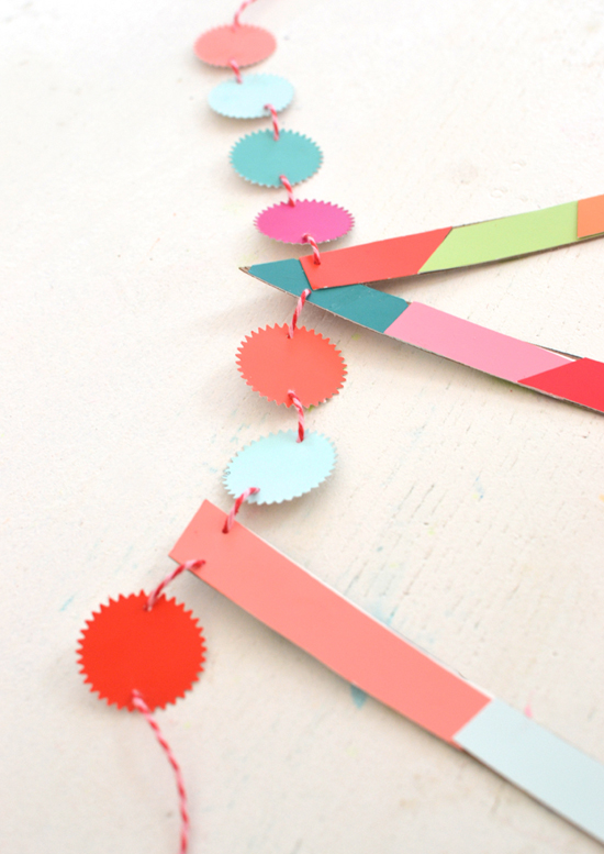 DIY name garland made with paint chips ~ colorful and easy | small for big
