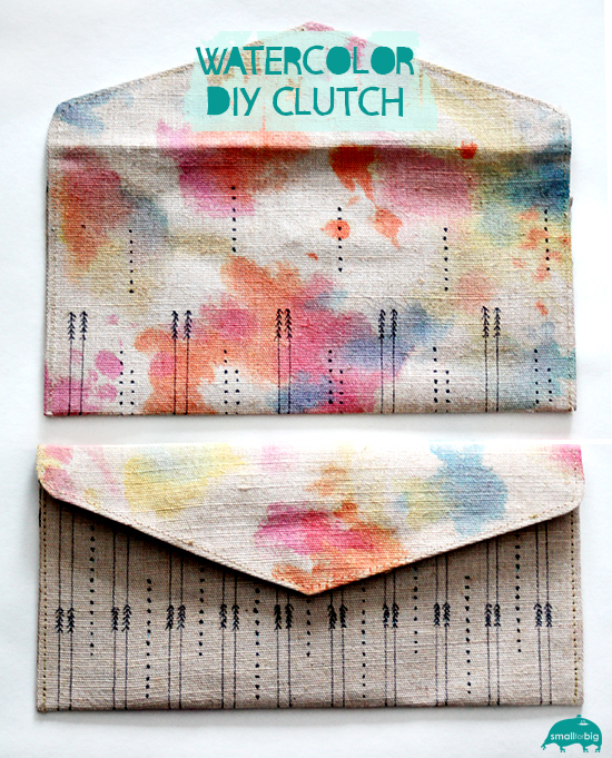 DIY watercolor clutch bag craft - great kids gift for mothers and grandmothers