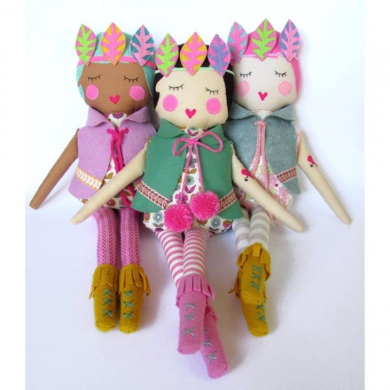 Boho Beauties - handmade felt dolls with feathers, moccassins, and pom poms