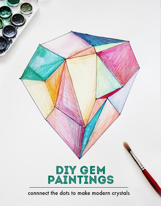 Diy Crystal Gem Jewel Paintings Watercolor Crafts With Kids