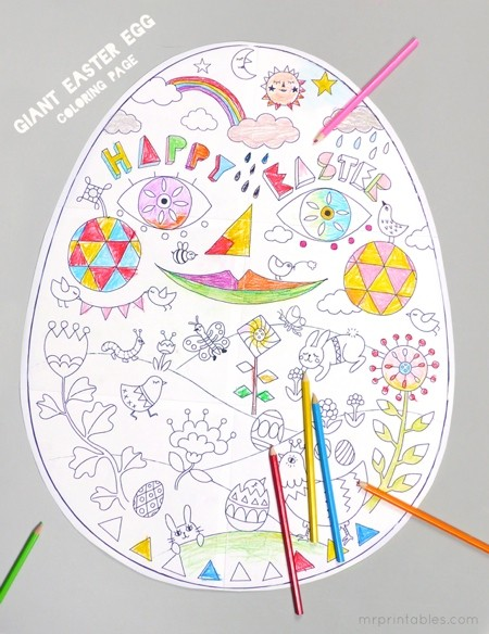 Giant easter Egg printable coloring page for kids