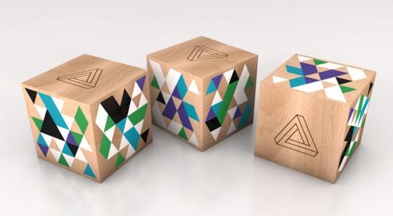 The Wooden Cube - Designer wooden screenprinted cube art