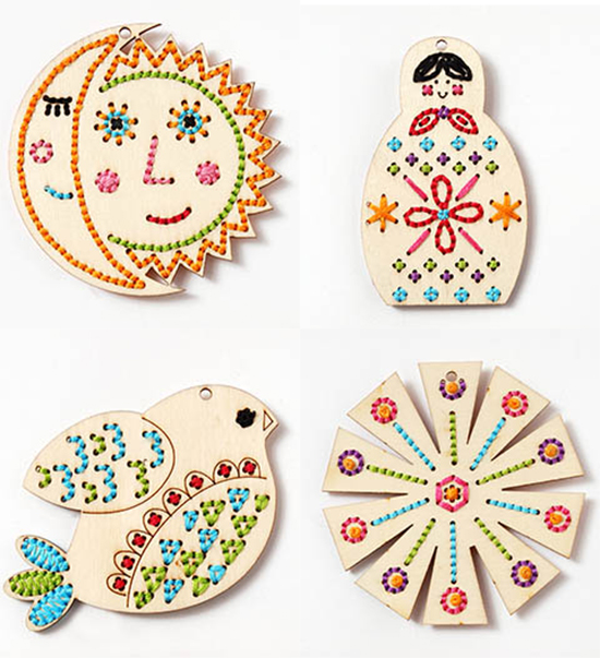 Craft kits for kids wood stitchables lacing toys for Wood craft ideas for kids