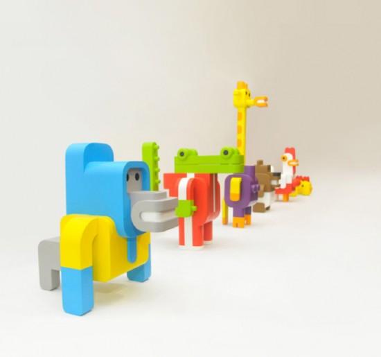 Sebastian Burga design via Behance - Minimals animal building toys