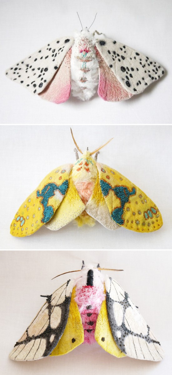 yumi okita textile embroidered moth art