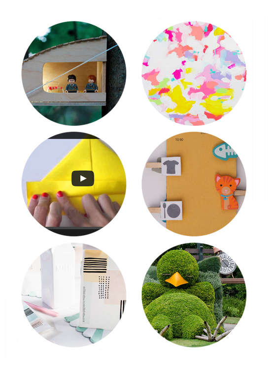 Top links online this week include: lego treehouse diy, abstract paintings, paper boats diy, wood chore chart, diy lunchbags, and duck topiary.