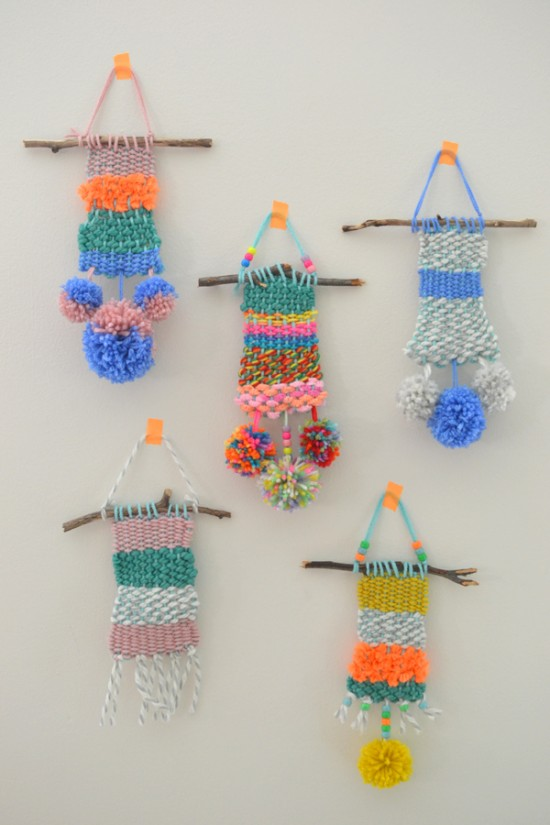 Diy Weaving Art With Kids Yarn Crafts With Kids Wall Hangings