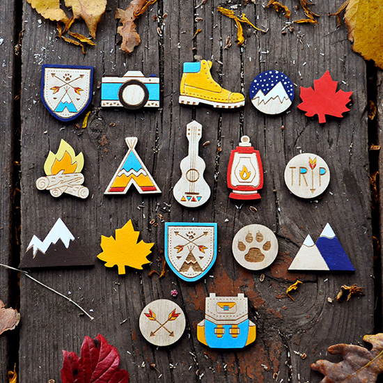 Twenty Fingers wooden badges and outdoors gifts
