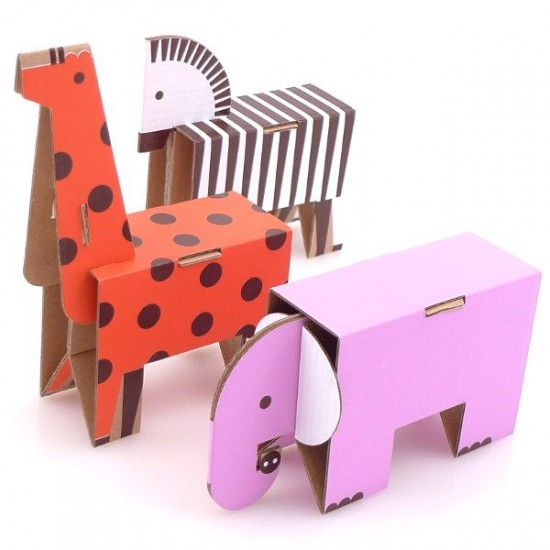 Cardboard Animal Paper Toy Craft Kit – DIY Cardboard ...