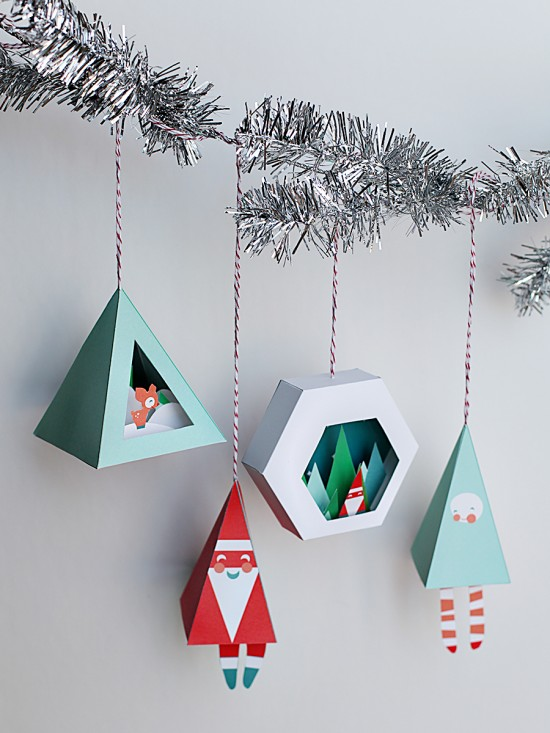 Printable Christmas Ornaments - Diorama Snow Globe Paper DIY Craft