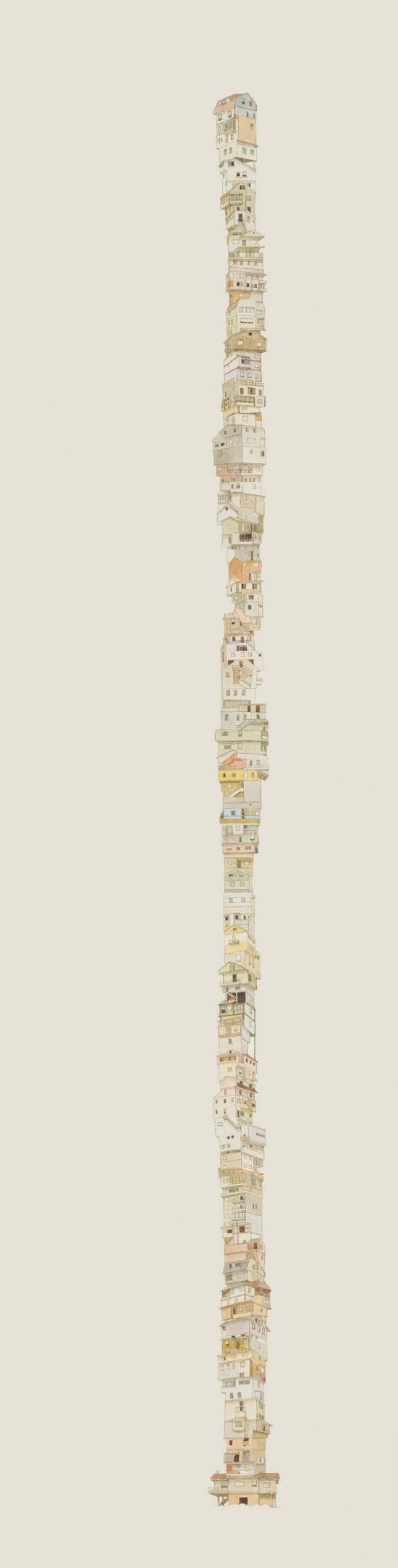 Elena Fernandez Prada - Architectural Illustration - Stacked Houses Art | Small for Big