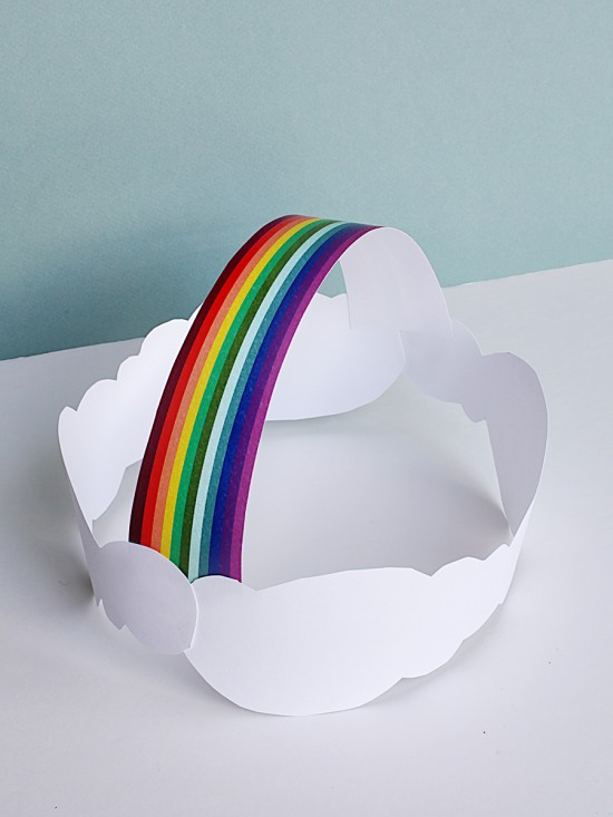 Clouds and Rainbow Crown Hat for St. Patrick's Day - DIY Printable craft project for kids