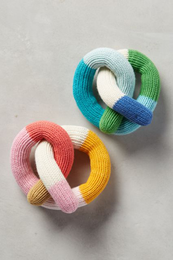soft knit pretzel rattles for babies from anthropologie