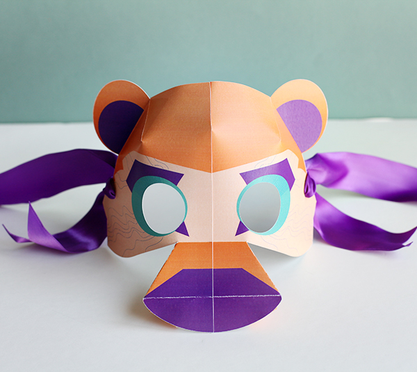 Printable Bear Mask for Kids - DIY 3D Paper Mask - Cricut Explore Bear Mask   Small for Big
