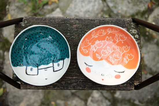 handmade serviing ice cream bowl - marinski ceramic bowl with illustrations