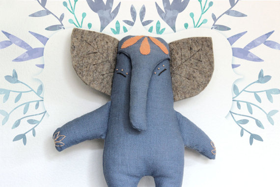 Filomeluna stuffed Toys - handmade elephant toy - bunny mermaid on Etsy | Small for Big