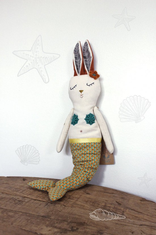 handmade stuffed toys from Filomeluna - elephant, bunny, mermaid, cat