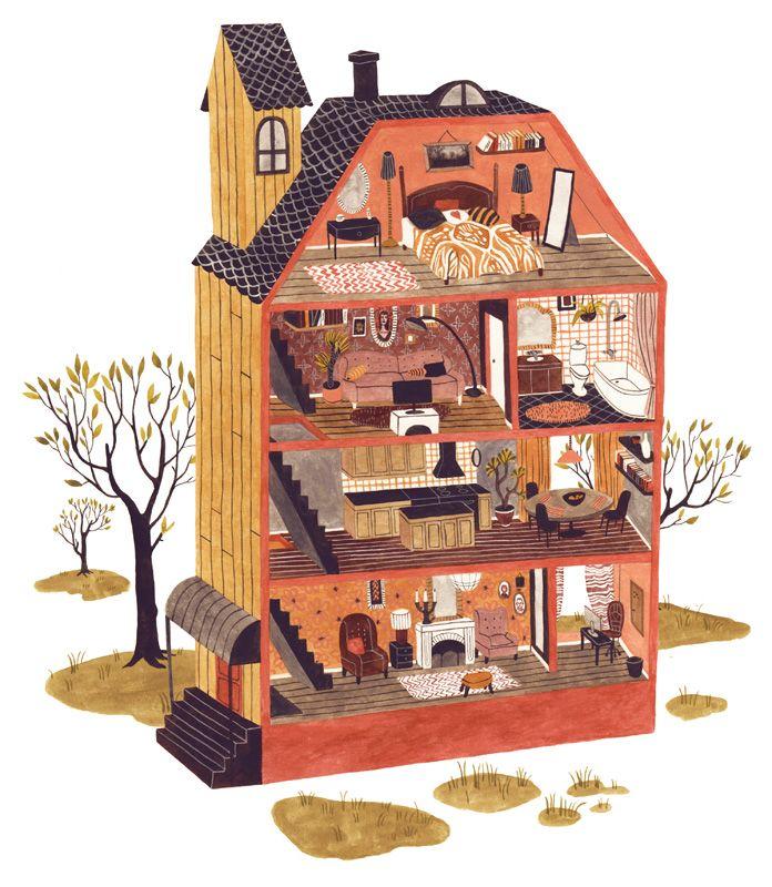 Line Art Doll House : Illustrated dollhouse rikka sormunen haunted house