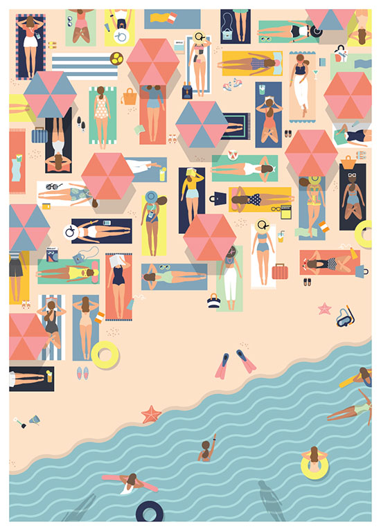 Summertime Beach Illustration - Putri Febriana | Small for Big