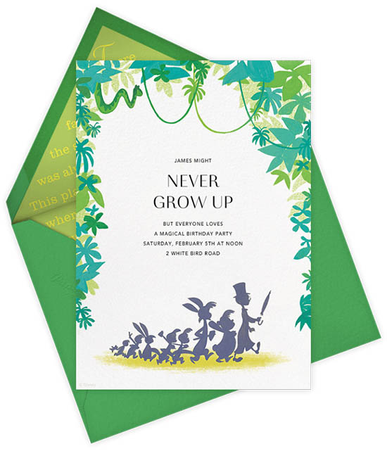 Paperless Post Disney Invitations - Kids BIrthday Invites - Peter Pan