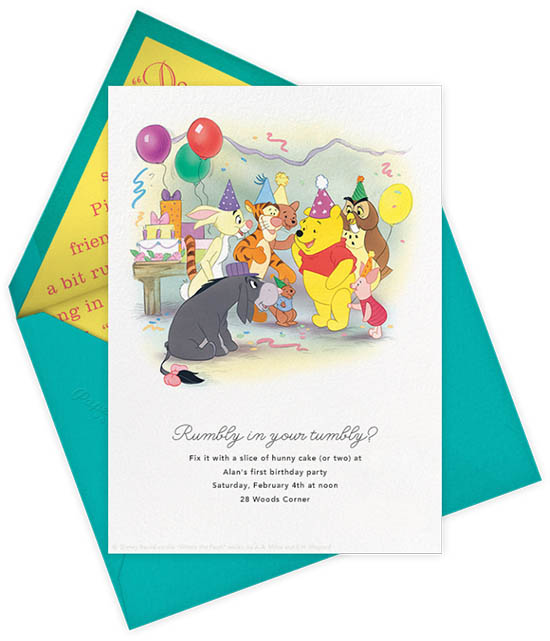 Paperless Post Disney Invitations - Kids BIrthday Invites - Winnie the Pooh