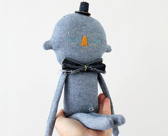 upcycled denim handmade stuffed animals on Etsy - Evie Barrow