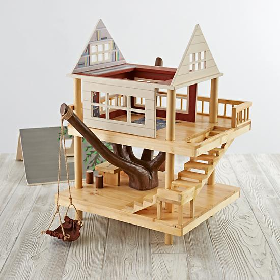 Land of Nod wood dollhouse - treehouse - camp wandawega toys