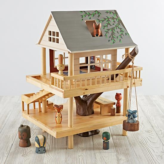 Land of Nod Holiday Toys - Forest and Camping Treehouse - Handpainted Wood Dollhouse | Small for Big