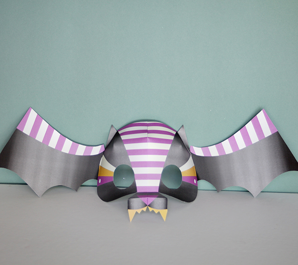 DIY bat mask - halloween printable crafts for kids - last minute halloween costumes | Small for Big